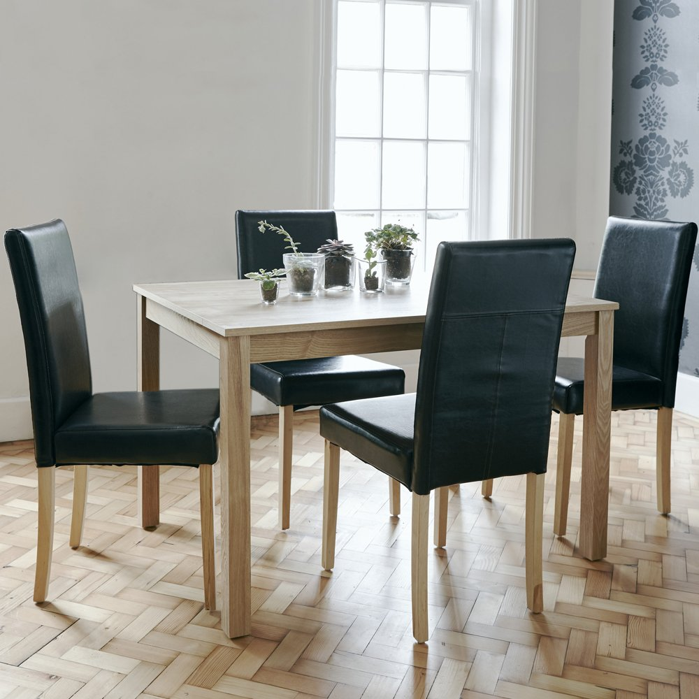 turin beech dining table set and 4 faux leather dining room chairs