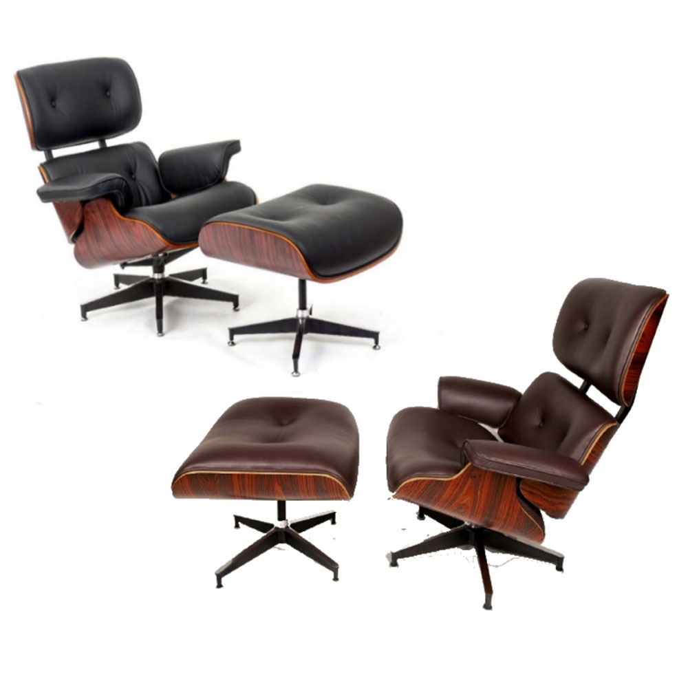 Charles Eames Inspired Leather Lounge Retro Chair Ottoman Black And Bro