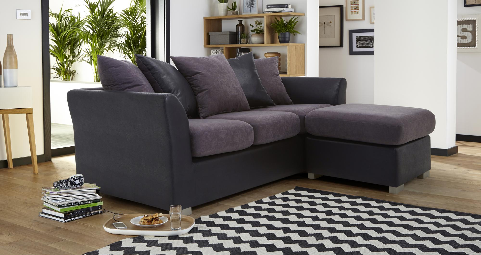 Dfs gallery black fabric chaise corner sofa left or right for Black fabric sectional sofa with chaise