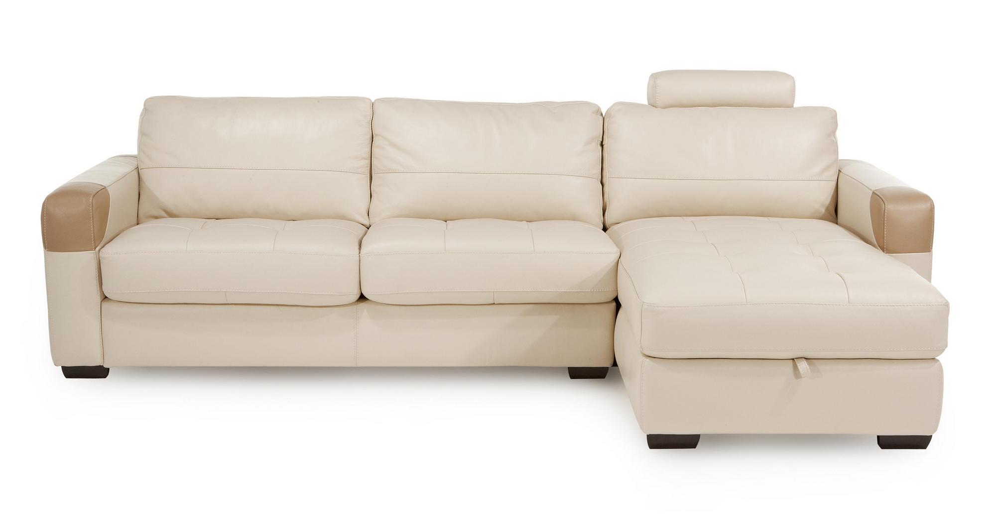 DFS Action Leather Large Storage Corner Sofa & Headrest