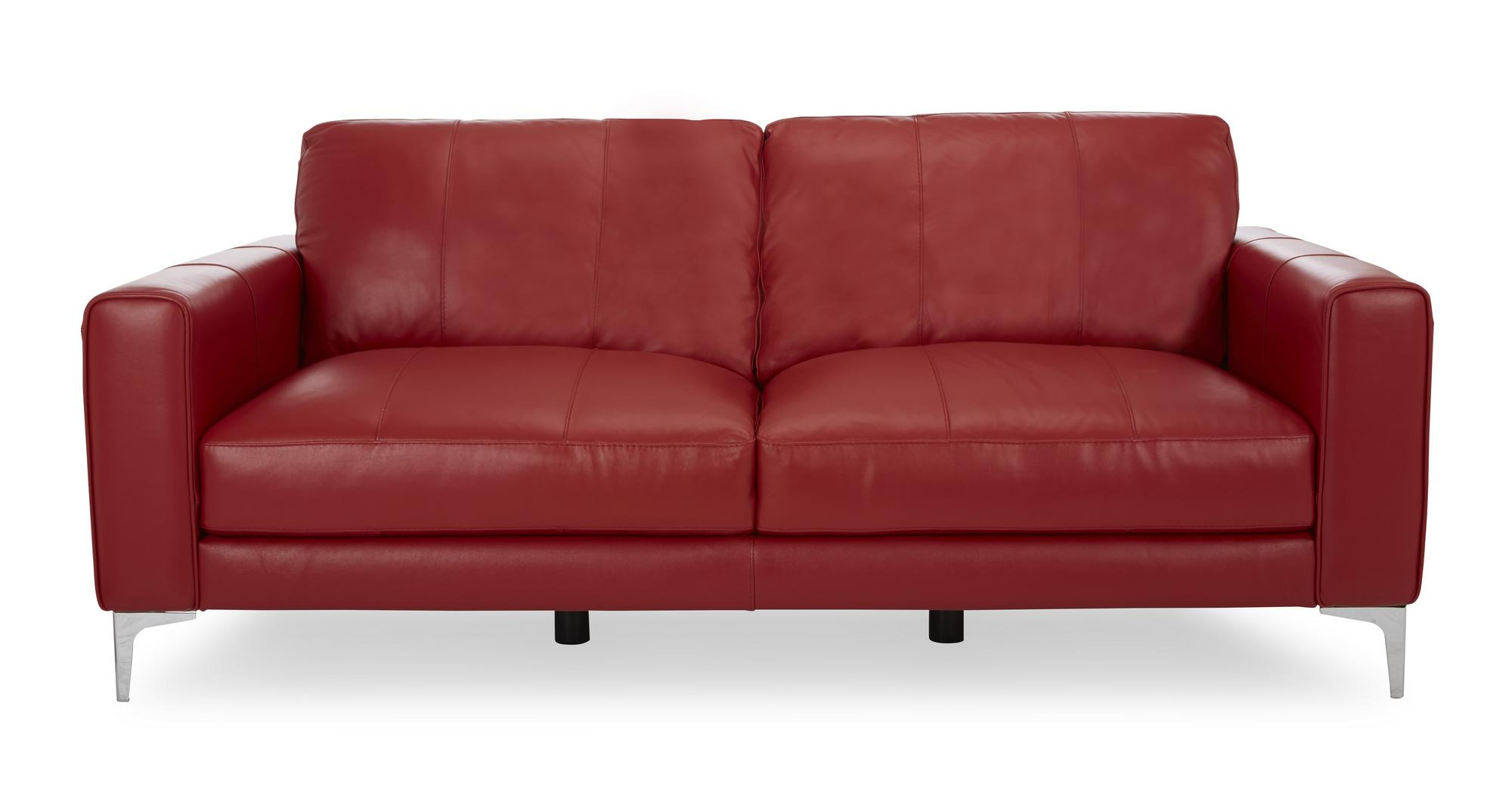 DFS Kenzie Red Leather 3 Seater Sofa 2 Seater Chair