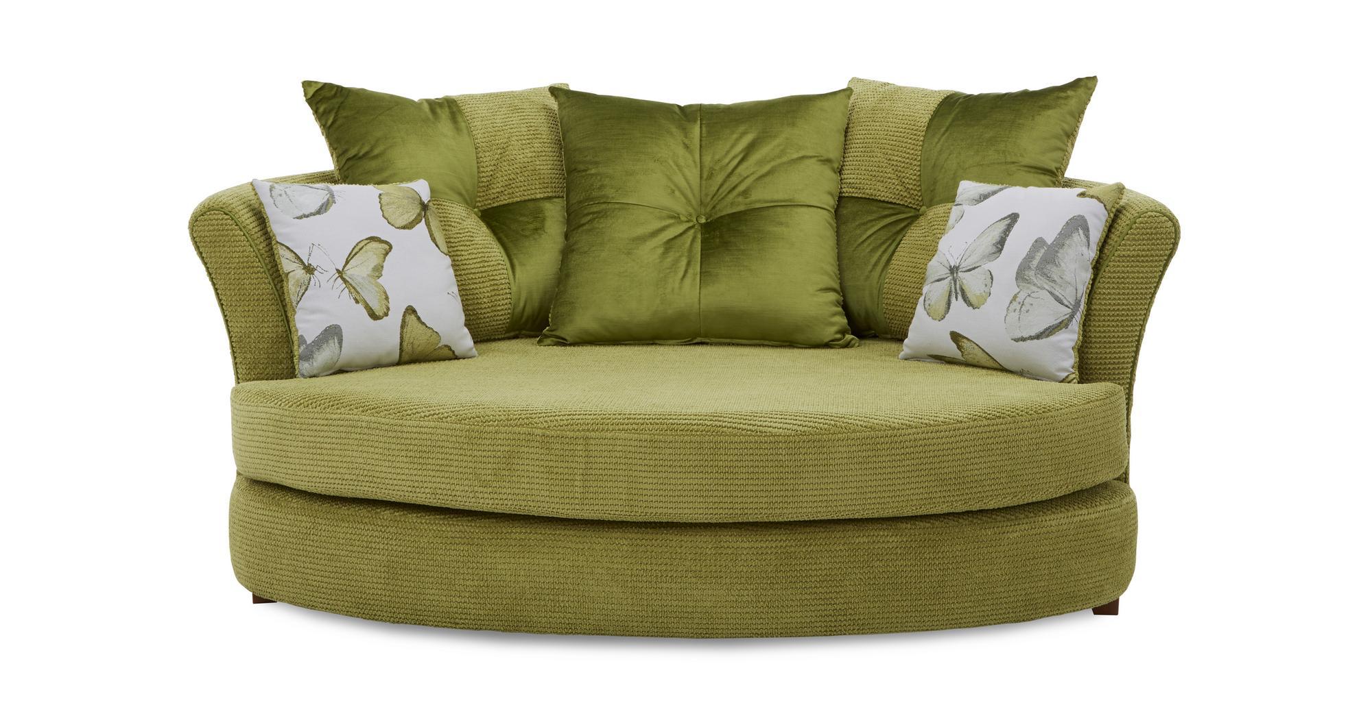 Dfs Capulet Lime Fabric Cuddler Sofa Amp Patterned Accent