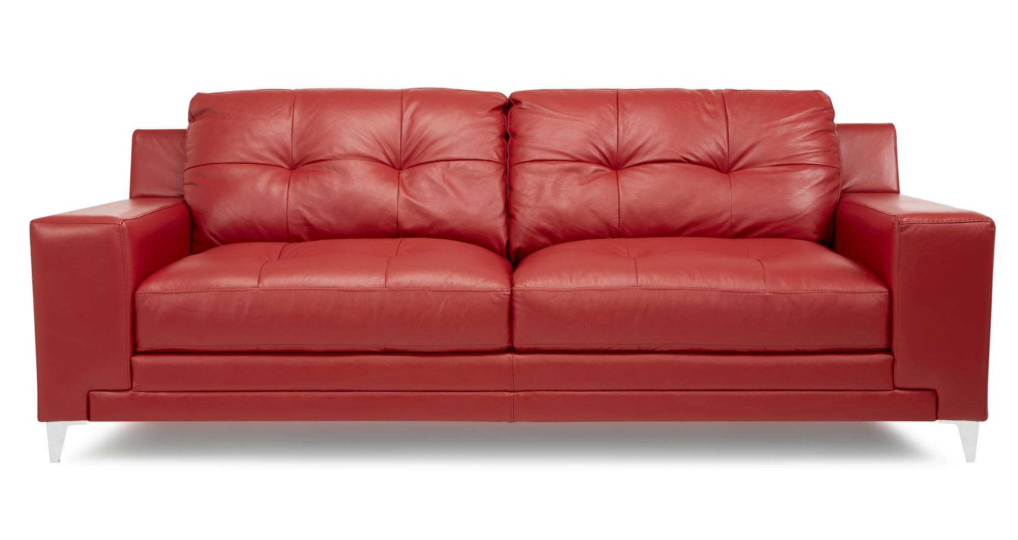 DFS Domain Enzo Red Leather 3 Seater 2 Seater Arm Chair