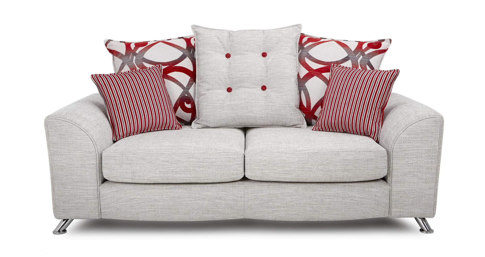 DFS Circuit Red Combination 2 Seater Sofa 2 X Stripe