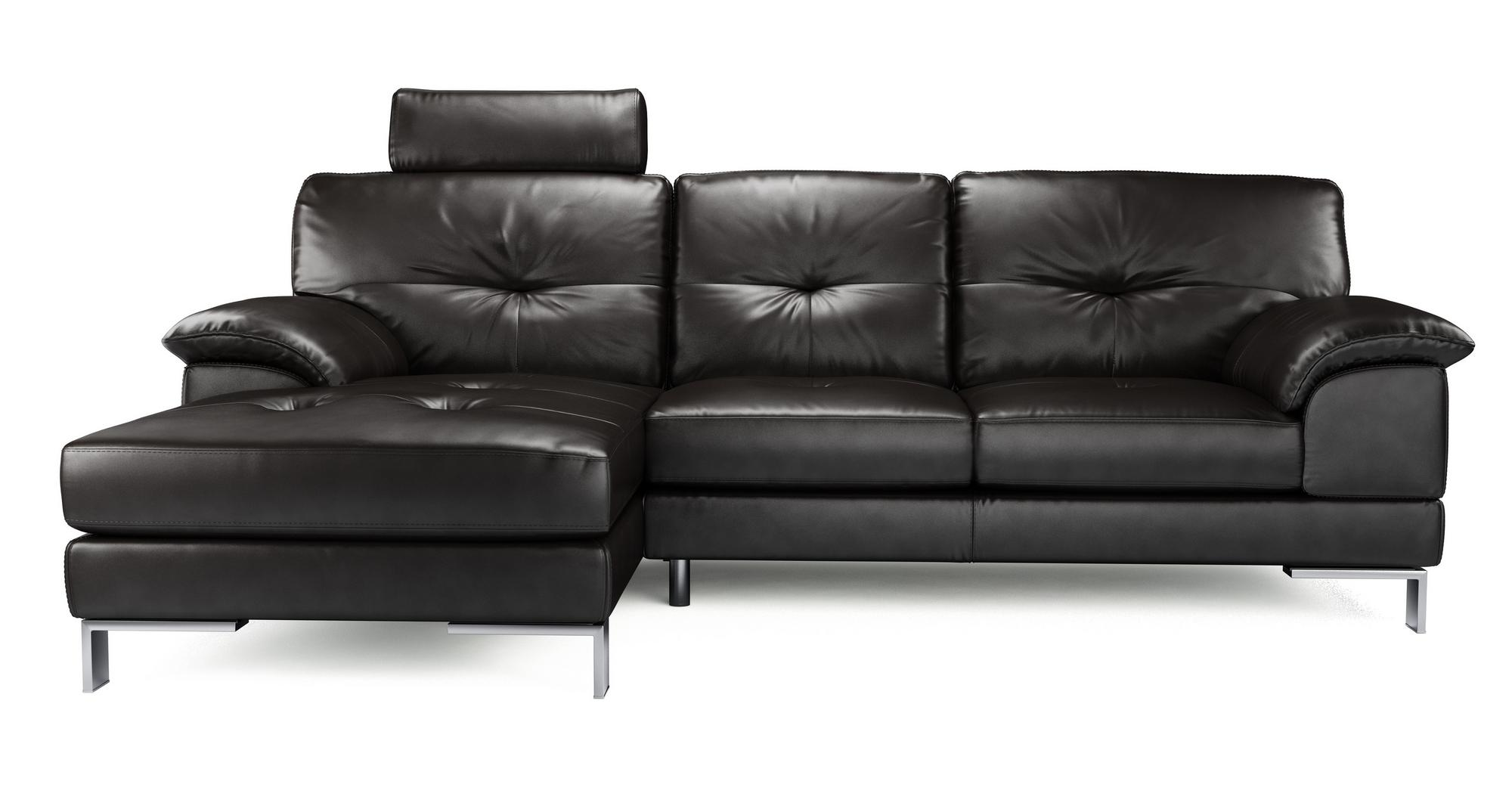 Dfs event black leather left hand facing chaise end sofa for Chaise end sofa uk