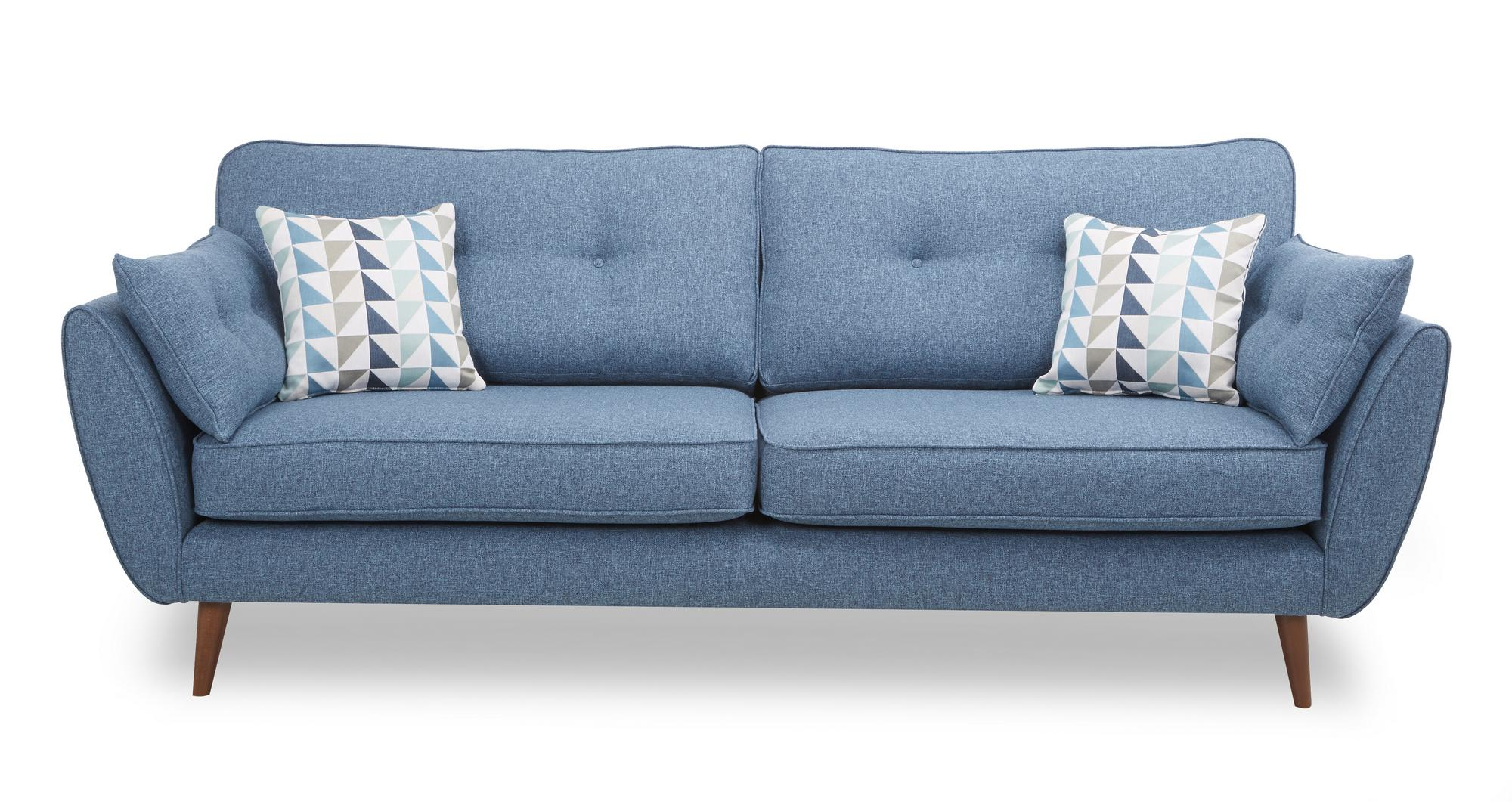 Dfs Zinc Teal Fabric 4 Seater Sofa 143888 Ebay