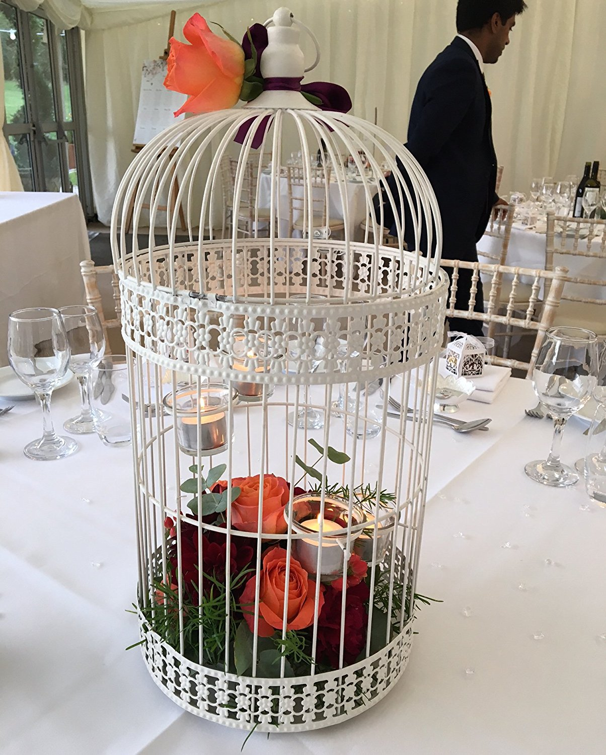 Large vintage bird cage wedding decorations table