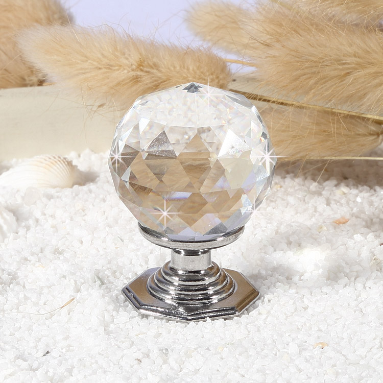 11 x 35mm Brushed Silver Crystal Glass Door Knobs Drawer Cabinet Kitchen Handle