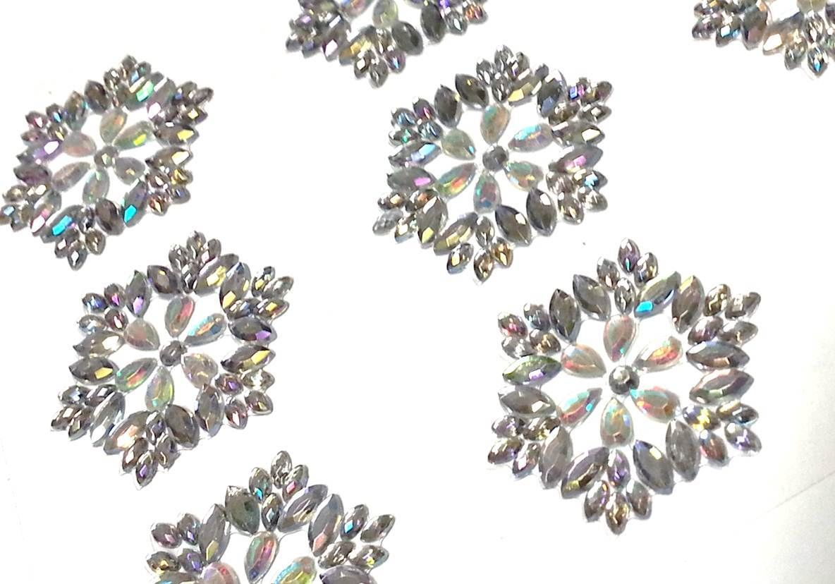 Cb056 9 ornate diamante self adhesive stick on flower for Stick on gems for crafts