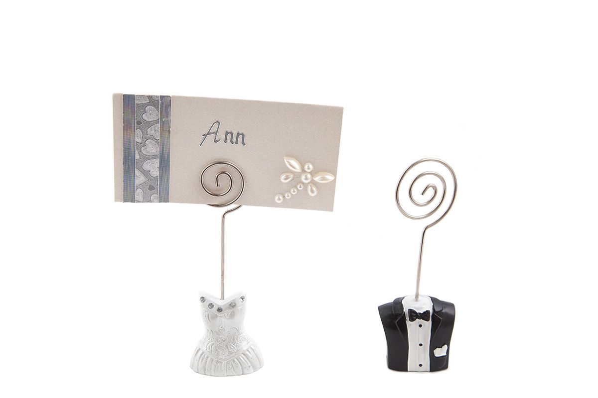 Set of bride groom wedding place card name holders table for Place settings name card holders