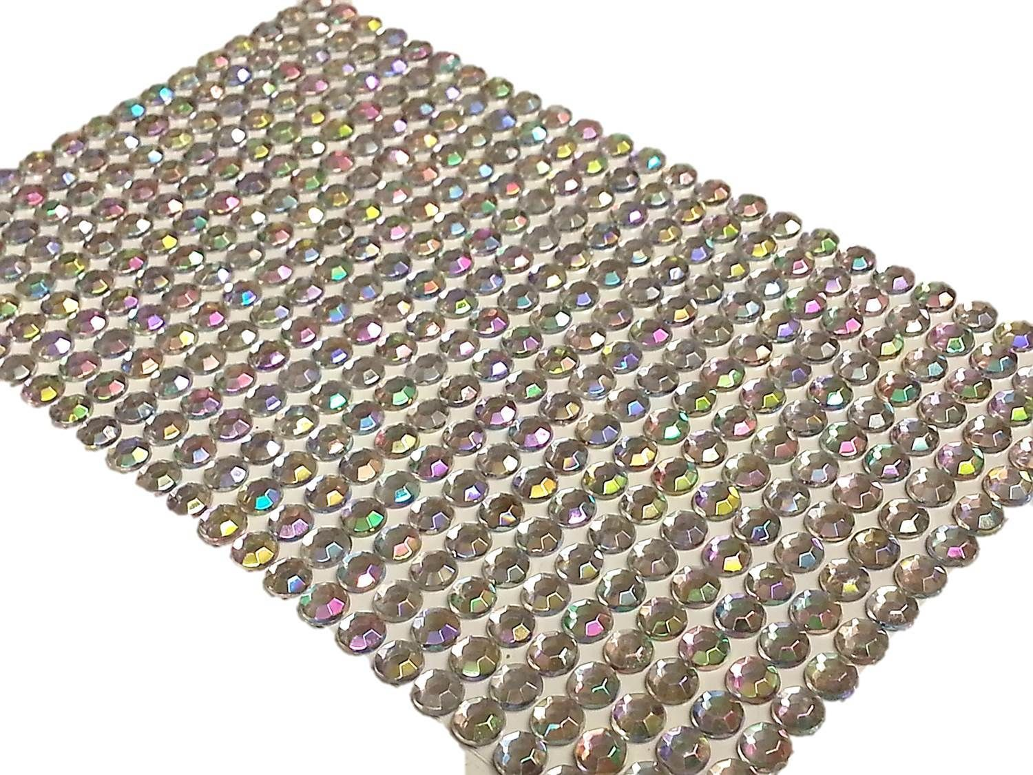 400pc bulk sheet of 6mm self adhesive ab diamante stick on for Stick on gems for crafts