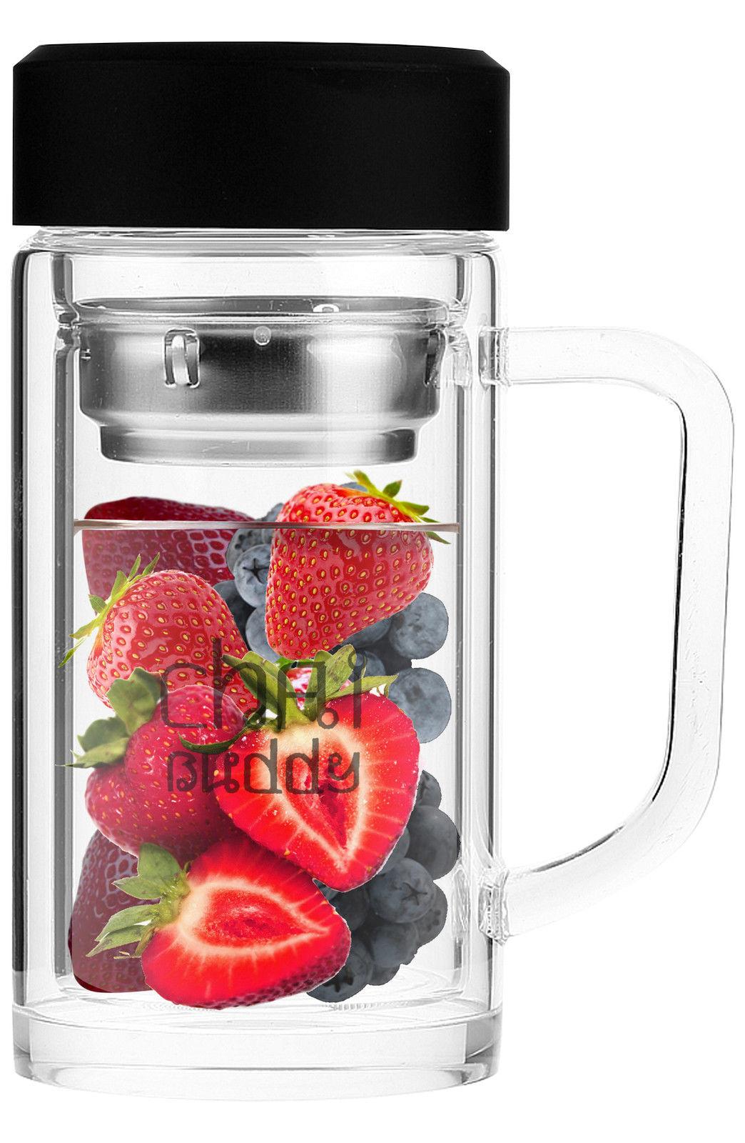 350ml 12 fl oz chai buddy infuser glass bottle fruit tea mug thermos travel. Black Bedroom Furniture Sets. Home Design Ideas