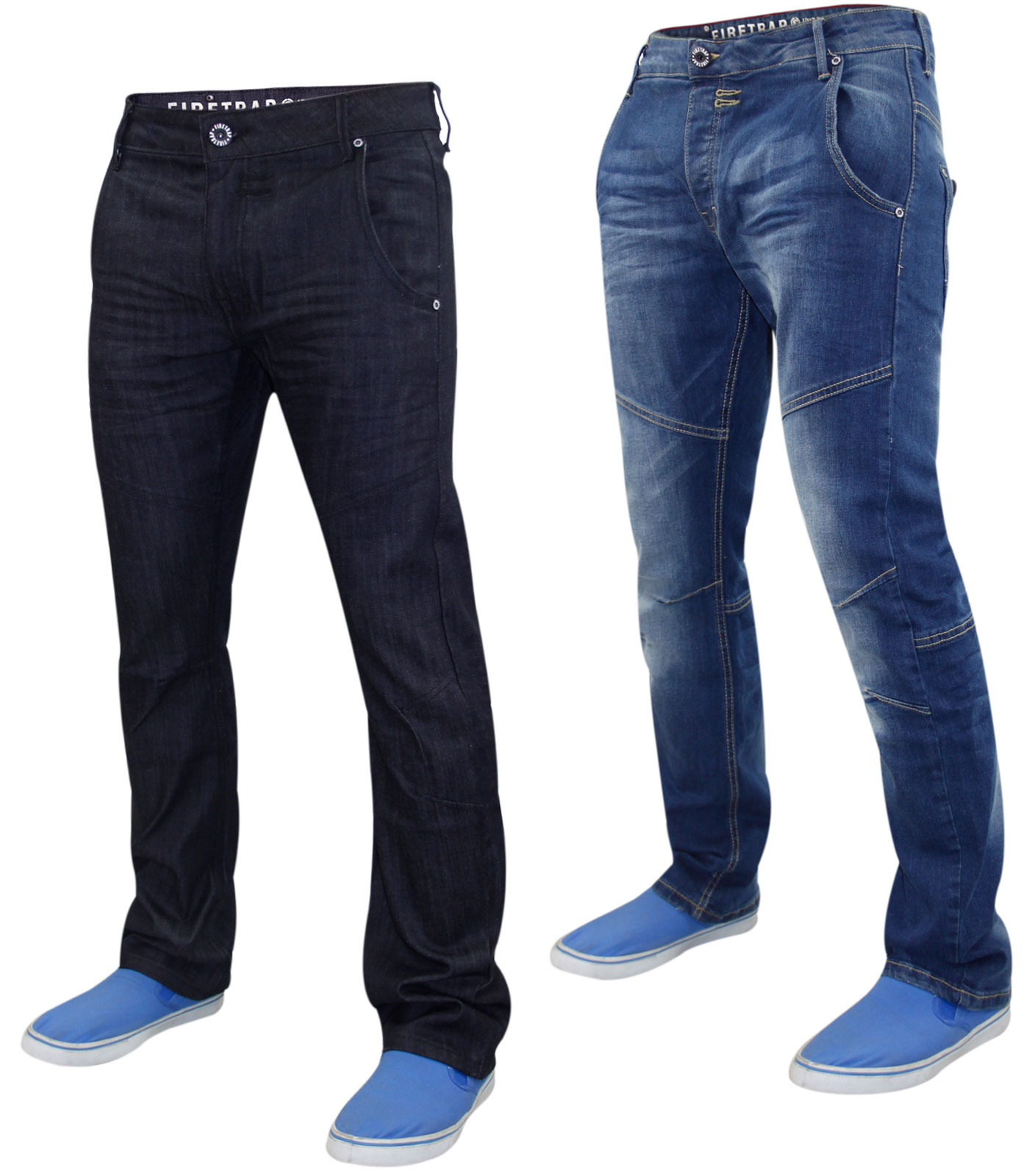 b017953164d New Mens Designer Firetrap Stretch Denim Jeans Regular Fit Curved Cut  trousers