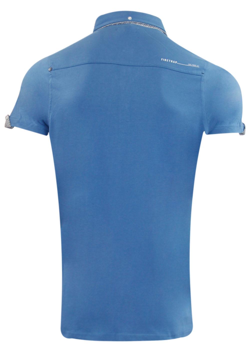 Mens New Branded Fire Trap Designer Collar Pocket Cotton T-Shirt Button Top