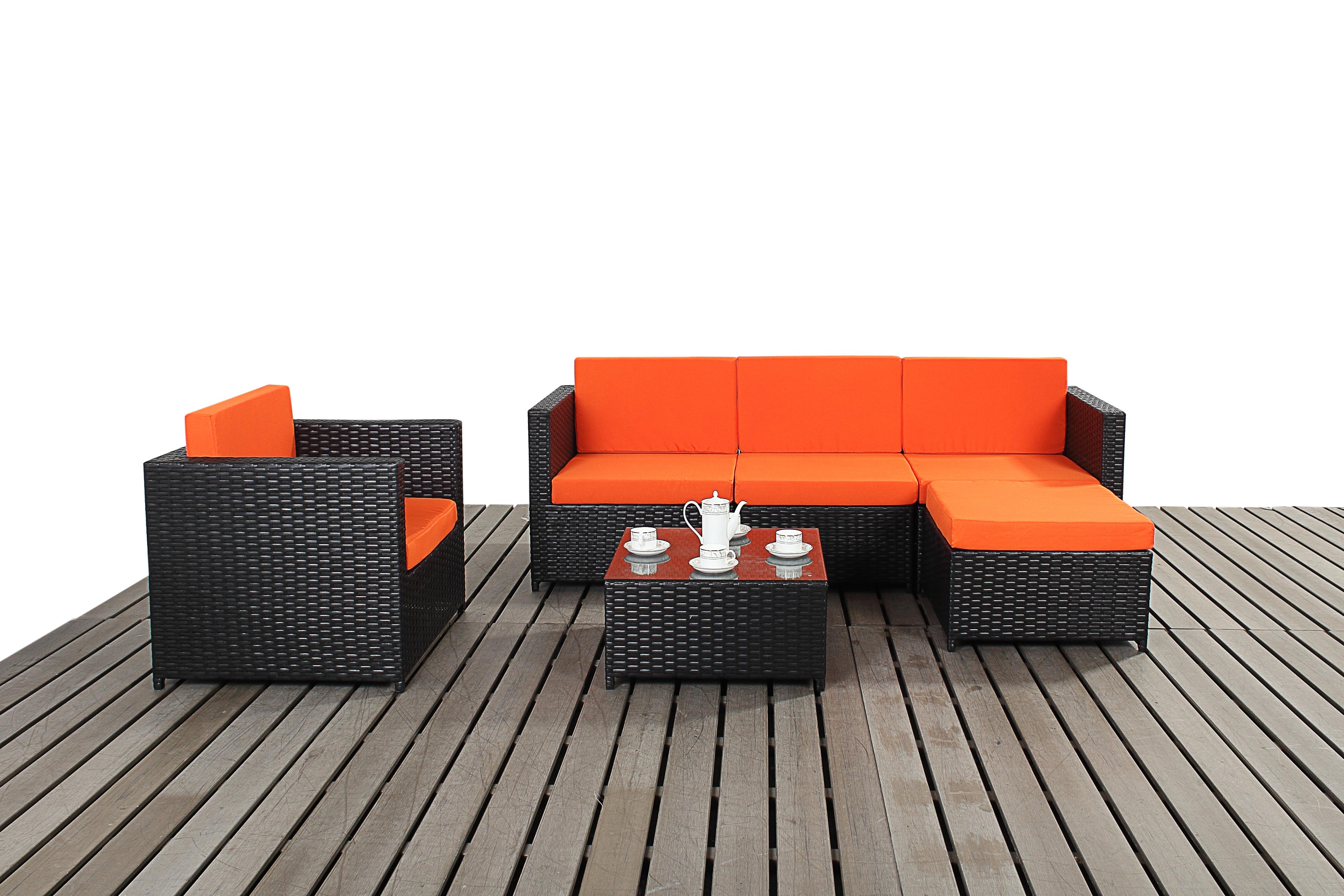 Royal Rattan Premier Black Orange Corner Sofa Chair Table