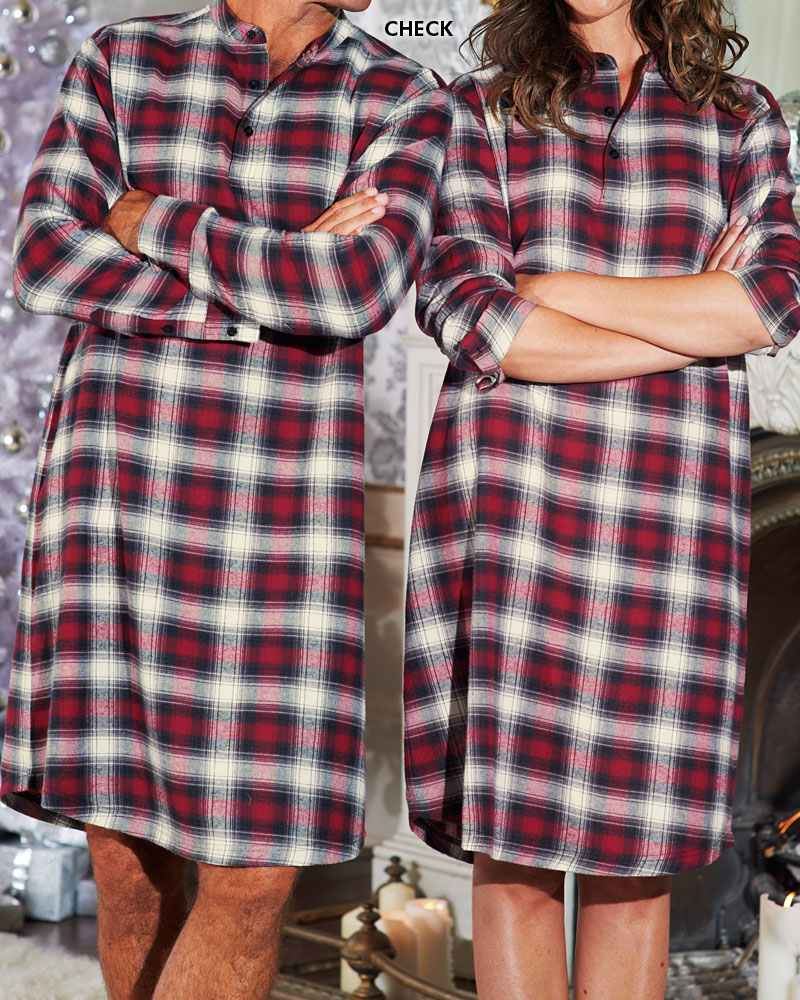 Cotton traders nightshirt mens womens brushed flannel yarn for Womens flannel night shirts