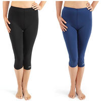 Bohn Swimwear Ladies 3/4 Length Swim Leggings In Black And Navy Size 8 - 24