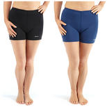 Bohn Swimwear Ladies Boyleg Swim Shorts In Black And Navy Size 8 - 20
