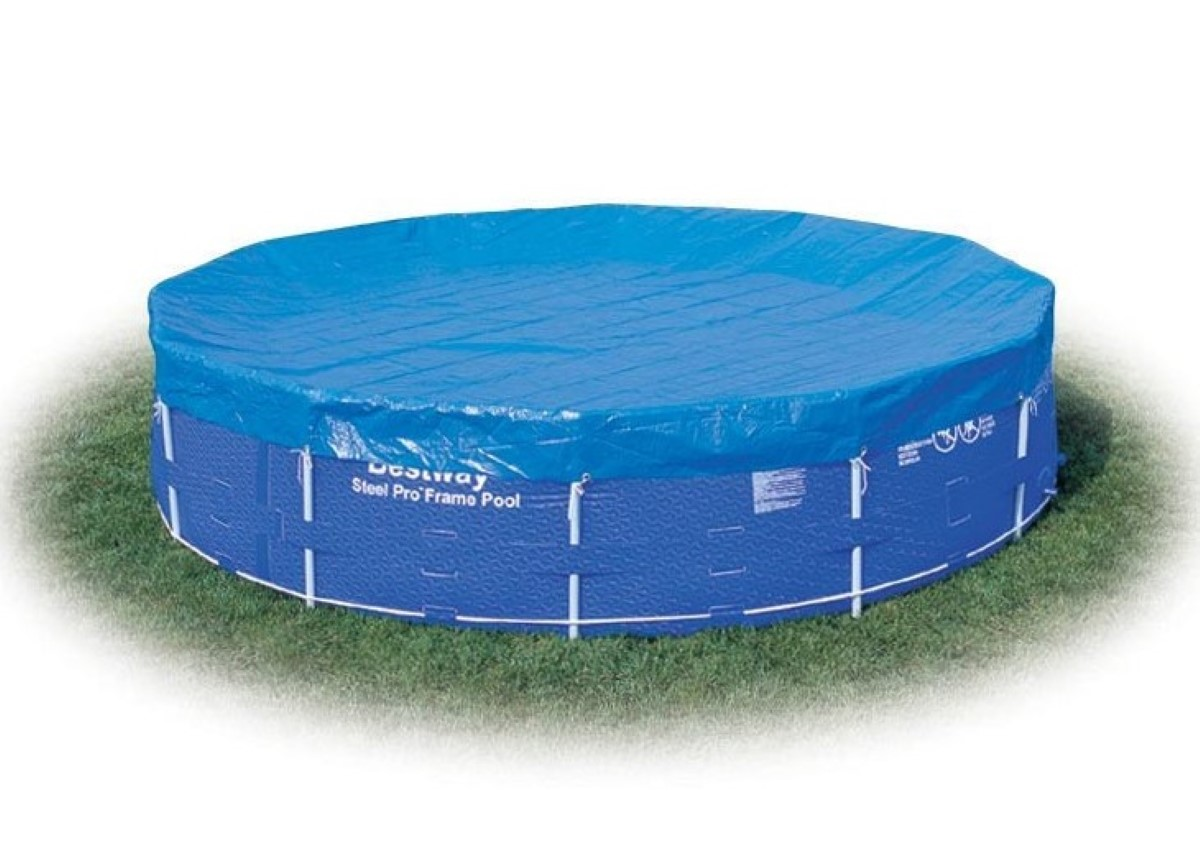 bestway 12ft steel frame pool cover bw58037 tarpulin debris cover ebay. Black Bedroom Furniture Sets. Home Design Ideas