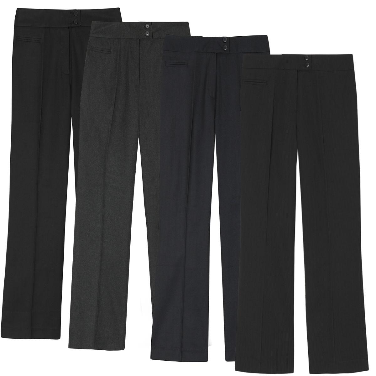 ladies straight leg work trousers sizes 8 14 pinstripe. Black Bedroom Furniture Sets. Home Design Ideas