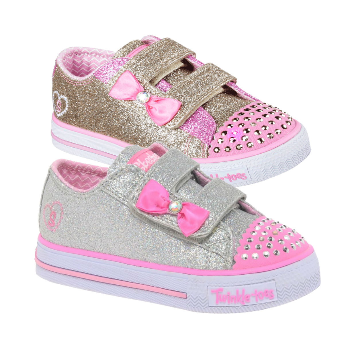 Skechers Kids Girls LED Light Up Trainers Low Top Shoes U0026#39;Twinkle Toes Shufflesu0026#39; | EBay