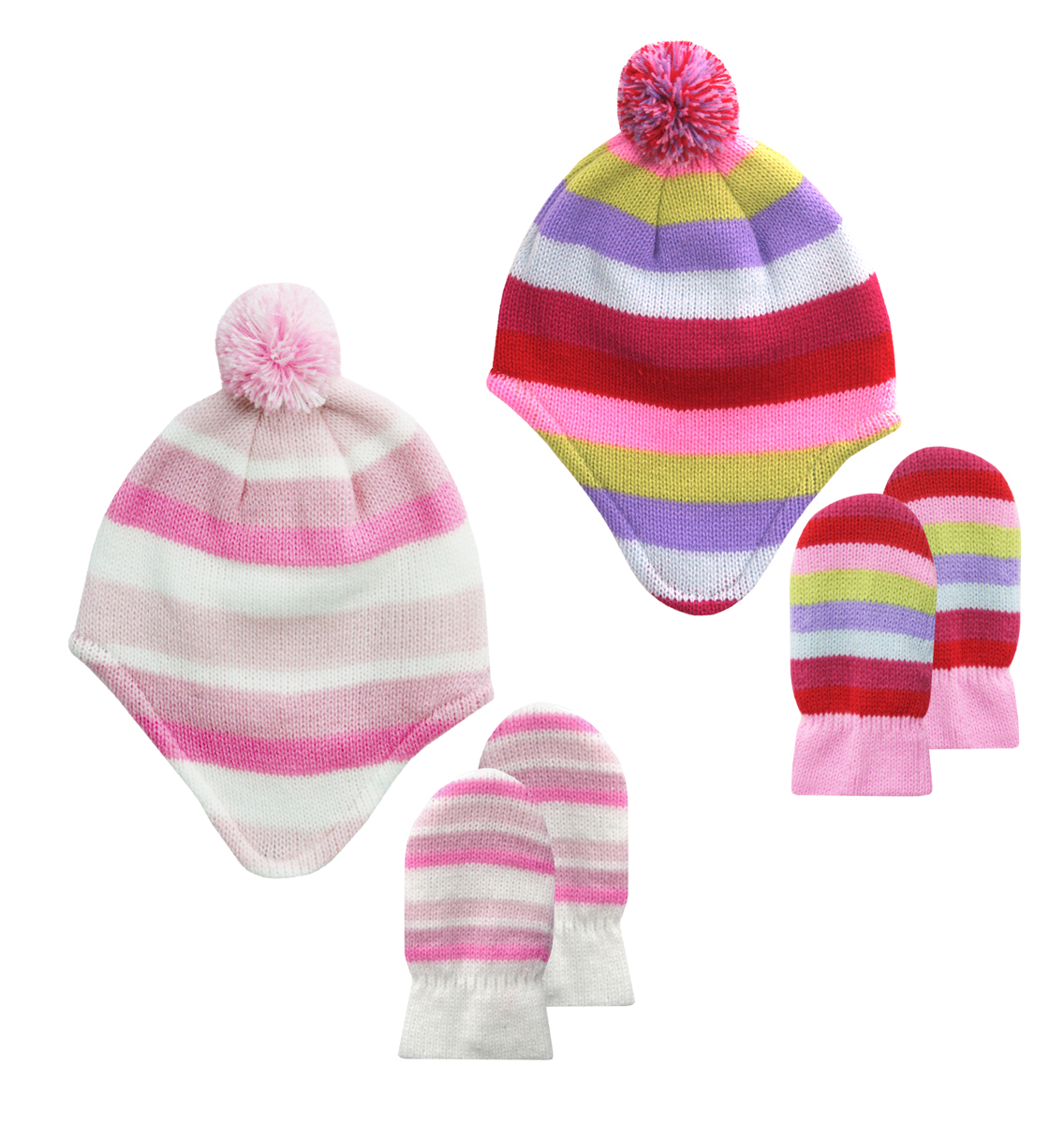 Tick Tock Baby Girl Hat Mittens Bundle Set Knitted Winter