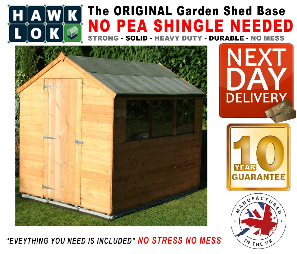 Hawklok shed base kit for garden shed building all sizes for Garden shed sizes