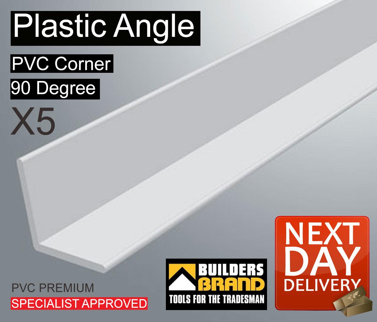 5x White Plastic Pvc Corner 90 Degree Angle Trim All Size