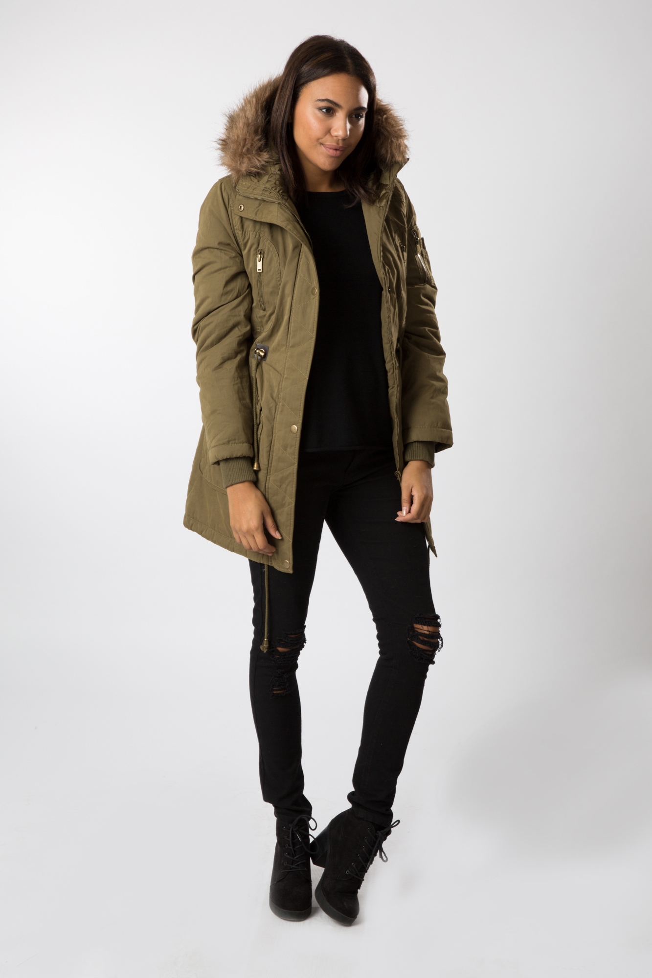 Khaki Faux Fur Lined Hooded Parka Jacket - Best Hood 2017