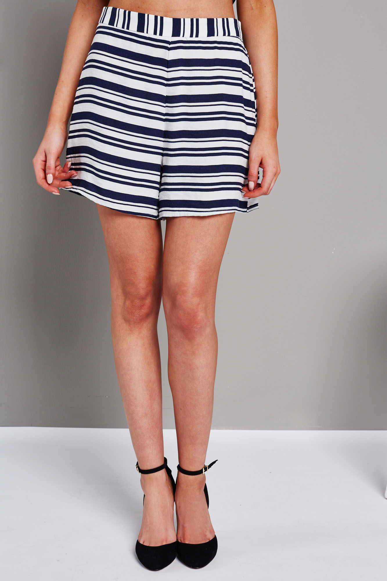 Glamorous Ladies White and Navy Striped Tailored Shorts | eBay