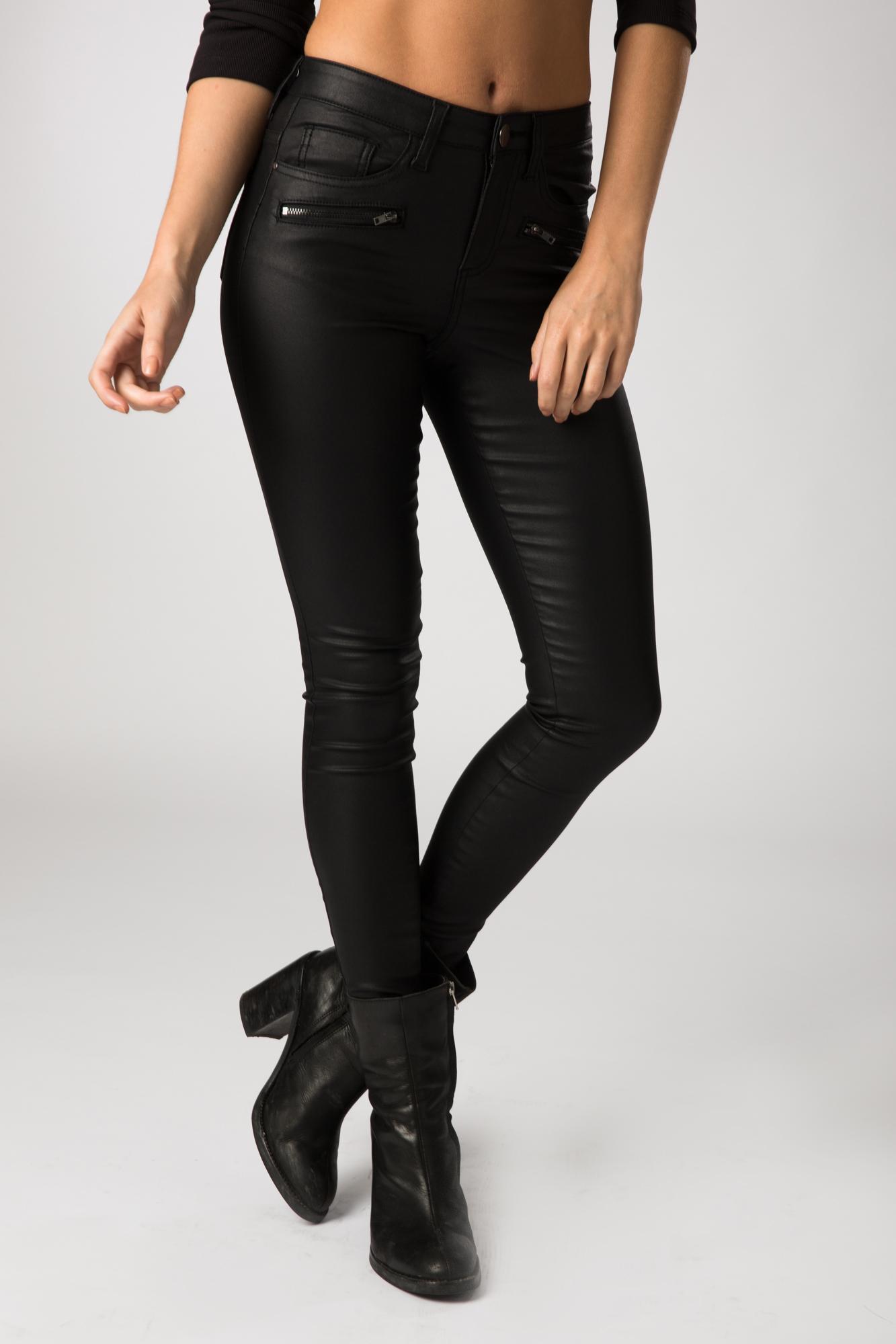 Fashion Union Womens Giraffe Coated Black Skinny Jean | EBay