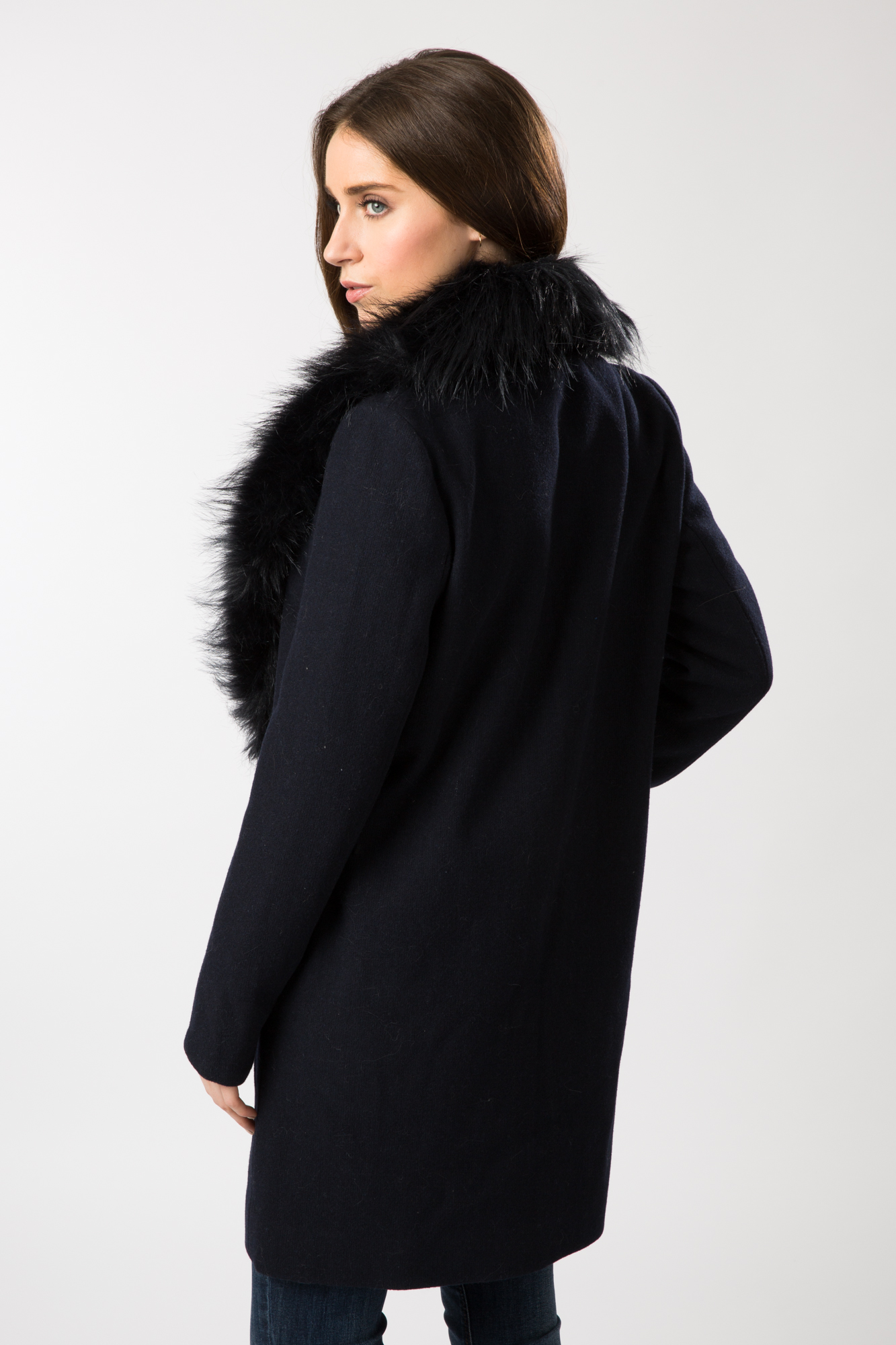 Smart black coat with fur collar