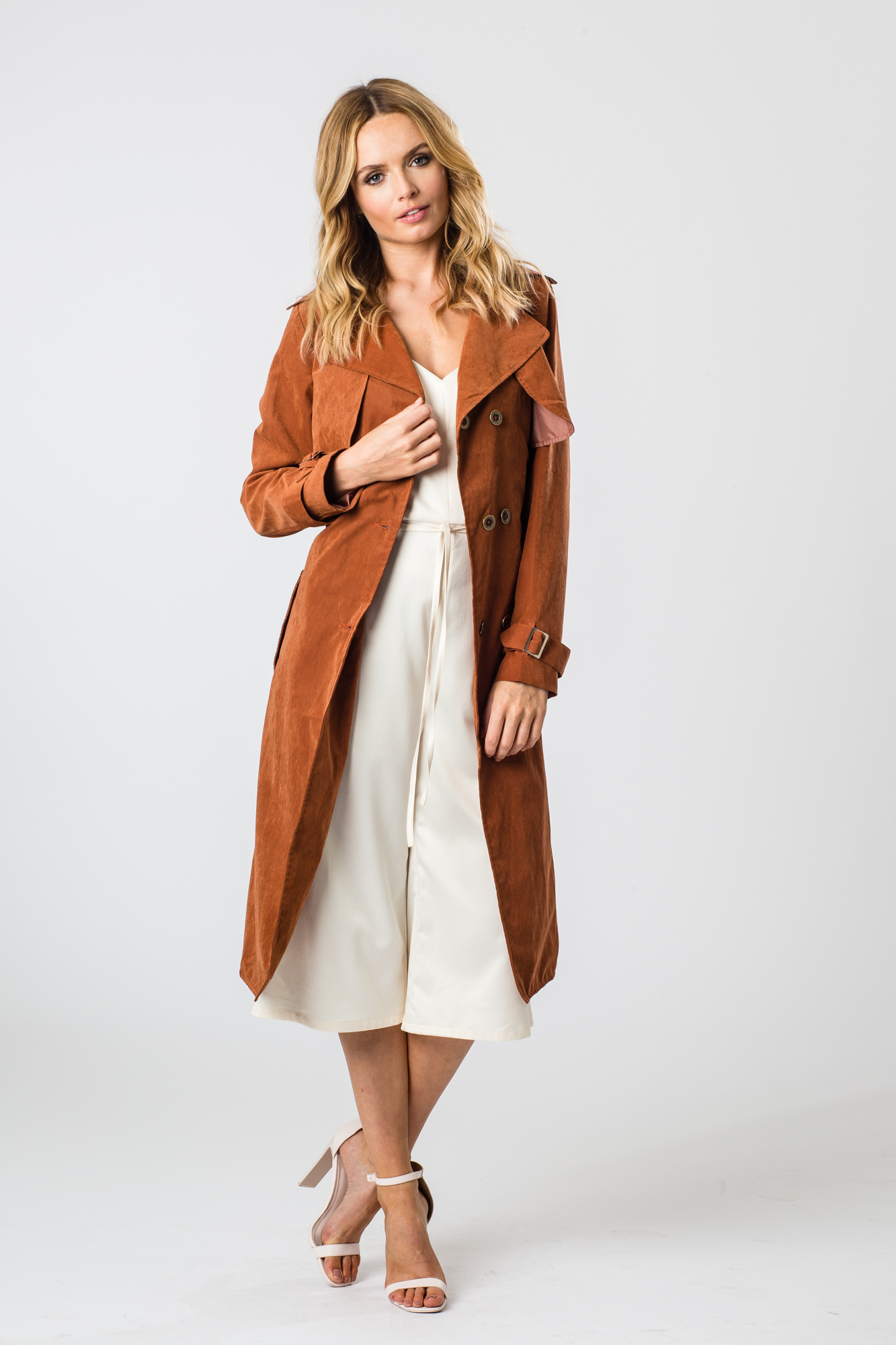 - Fashion Union Womens Eve Suede Trench Coat In Rusty Camel Tan Shade