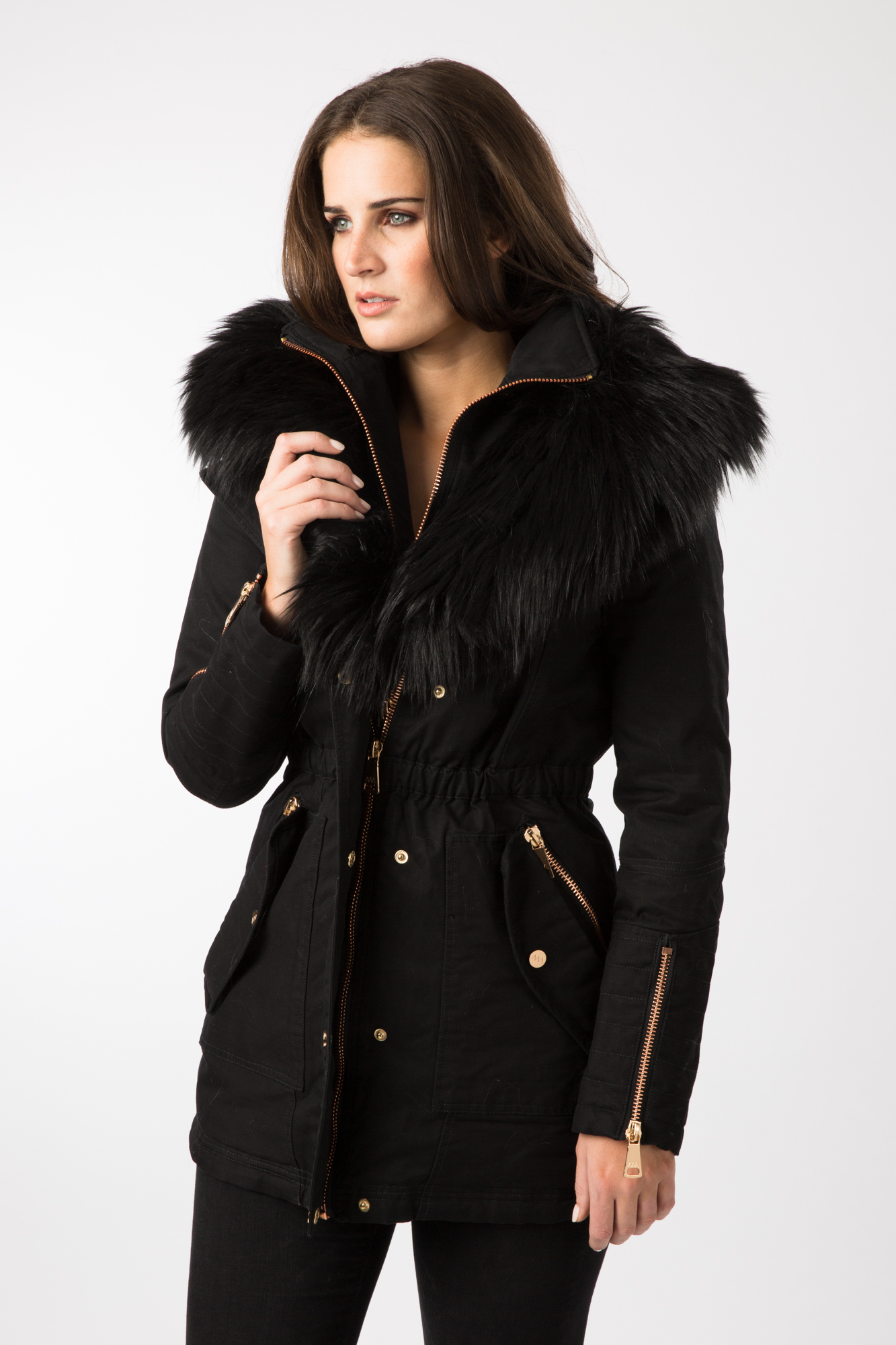 AM London Ladies Black Faux Fur Trim Parka Coat | eBay