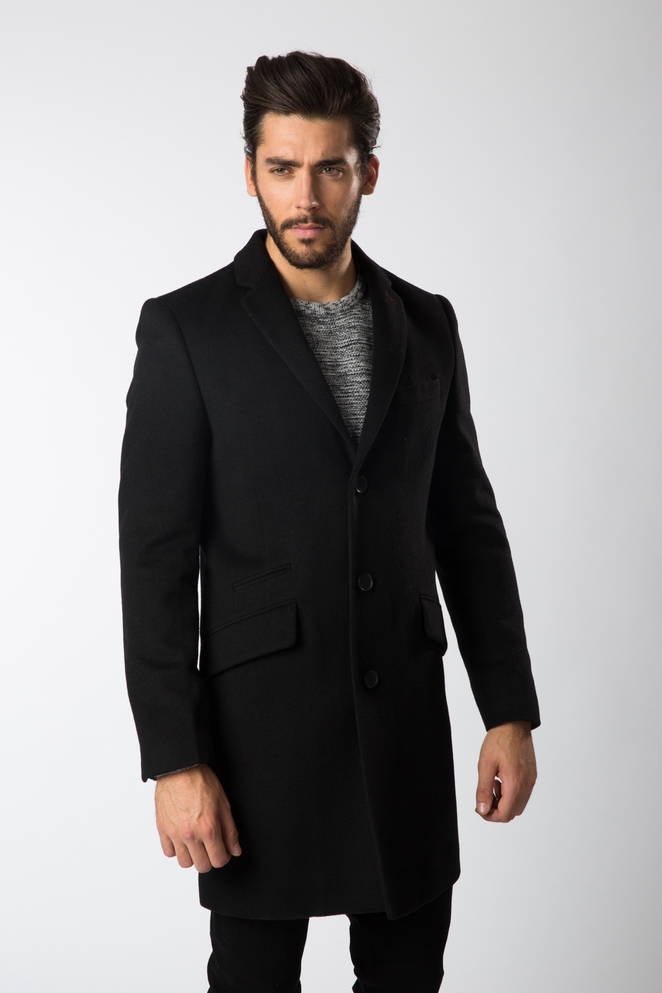 A.M London Mens Nicholls Classic Formal Crombie Wool Coat ...