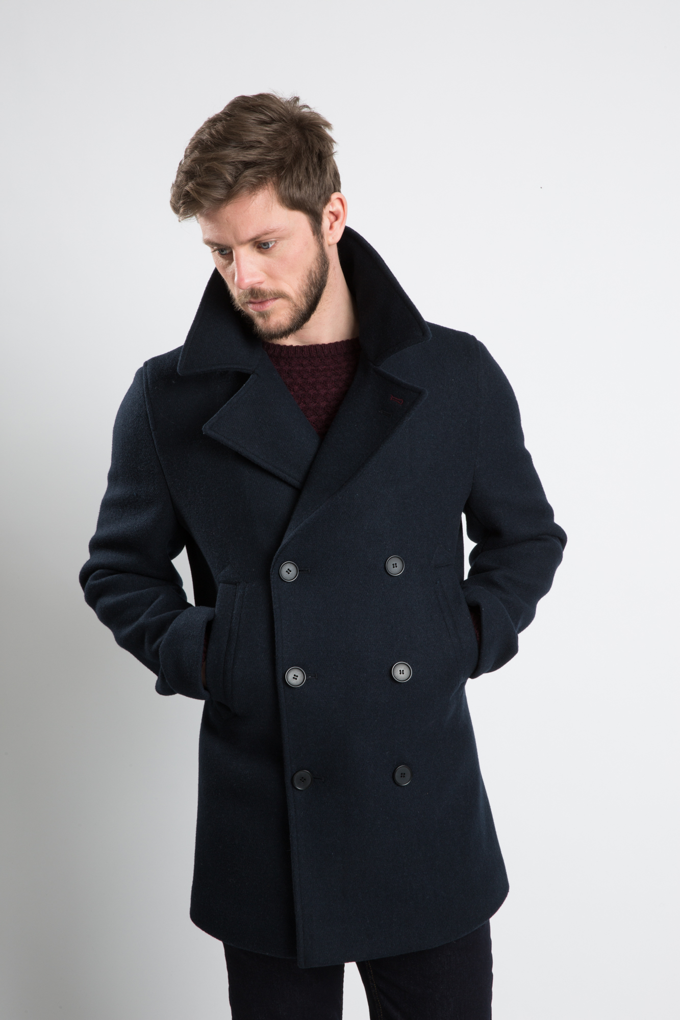 A.M London Mens Mclean Double Breasted Smart Pea Coat in Blue