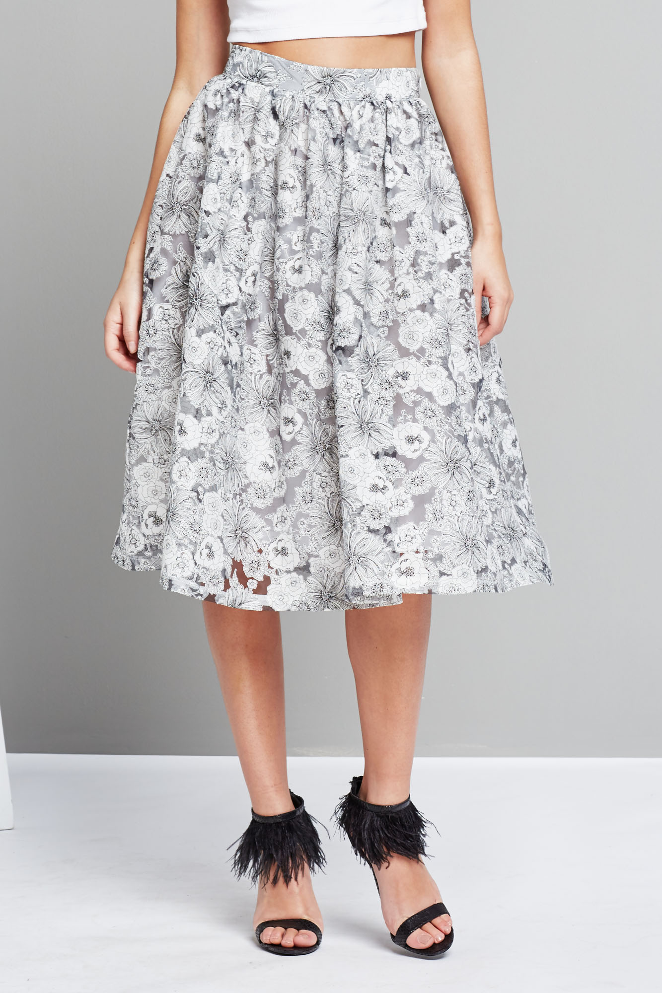 fashion union grey monochrome floral print midi