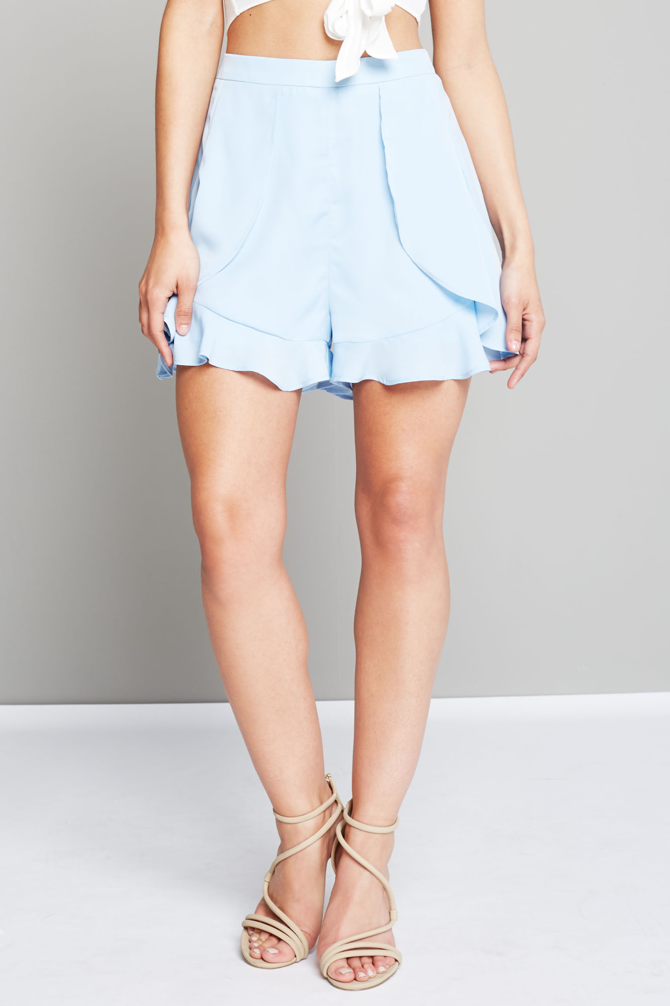Fashion Union Ladies Pastel Blue Formal Shorts with Frill Detail ...