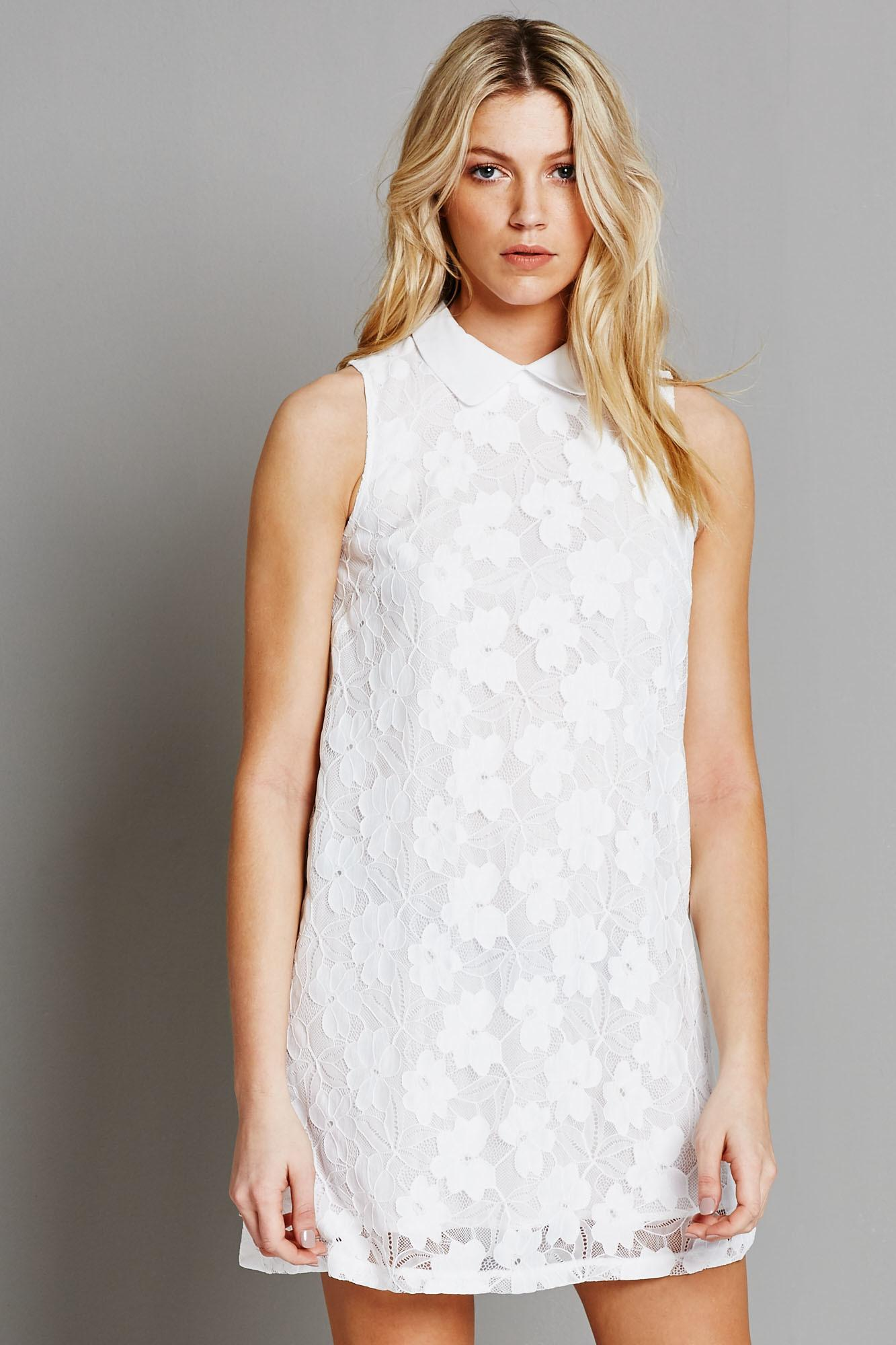 Fashion Union Ladies White Lace Shift Dress with Collar