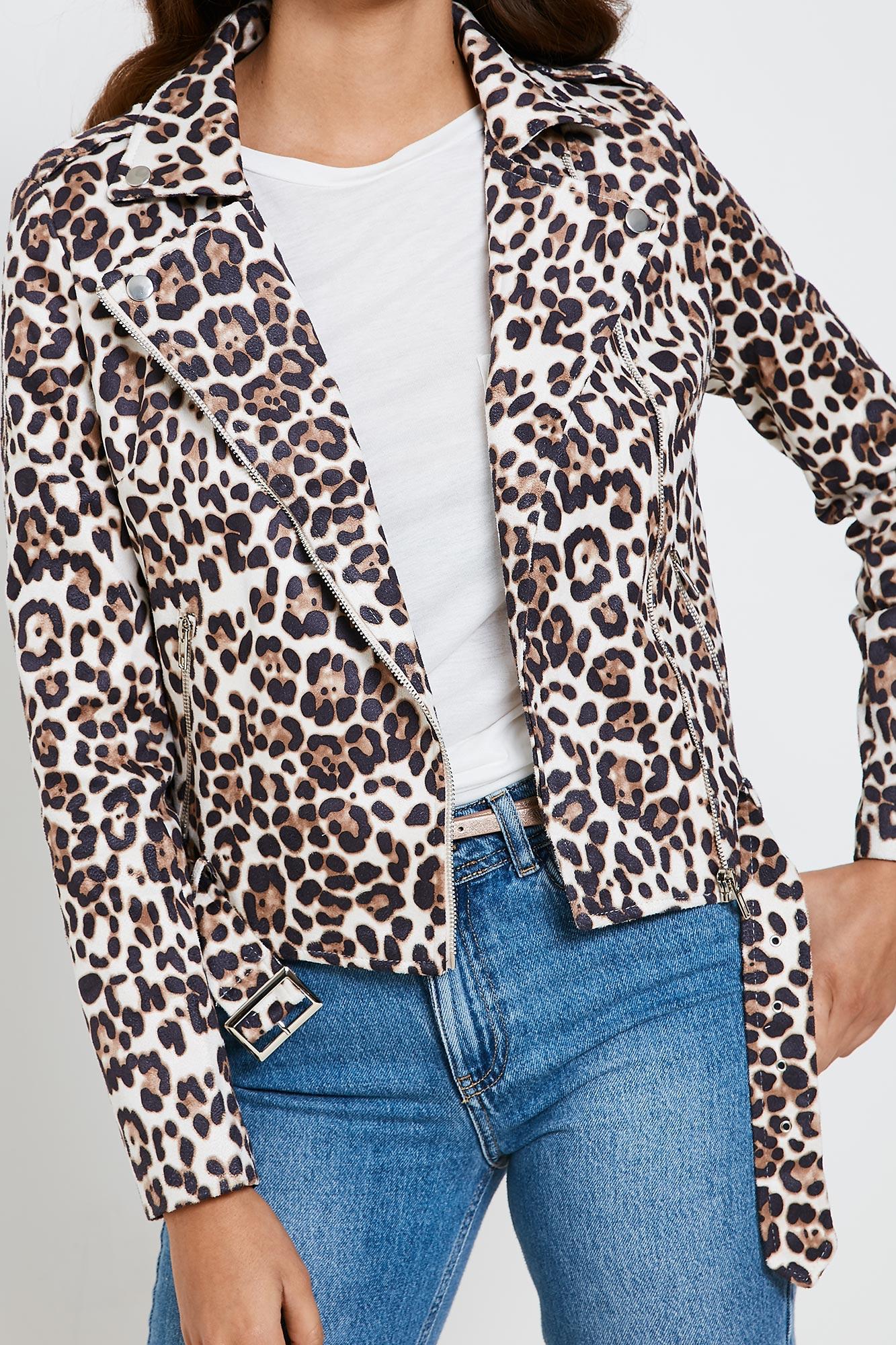 Brand Attic Faux Suede Leopard Print Women's Biker Jacket | eBay