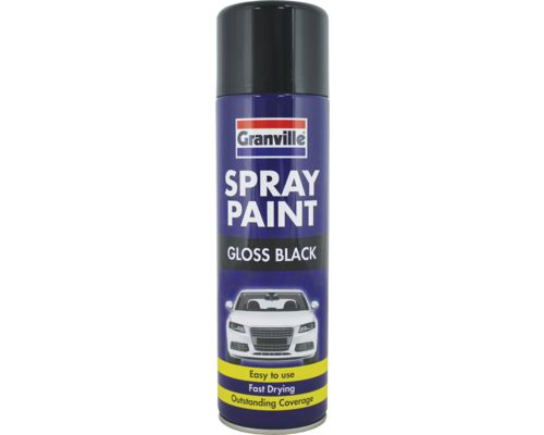 granville quality gloss black universal spray paint 500ml fast drying. Black Bedroom Furniture Sets. Home Design Ideas