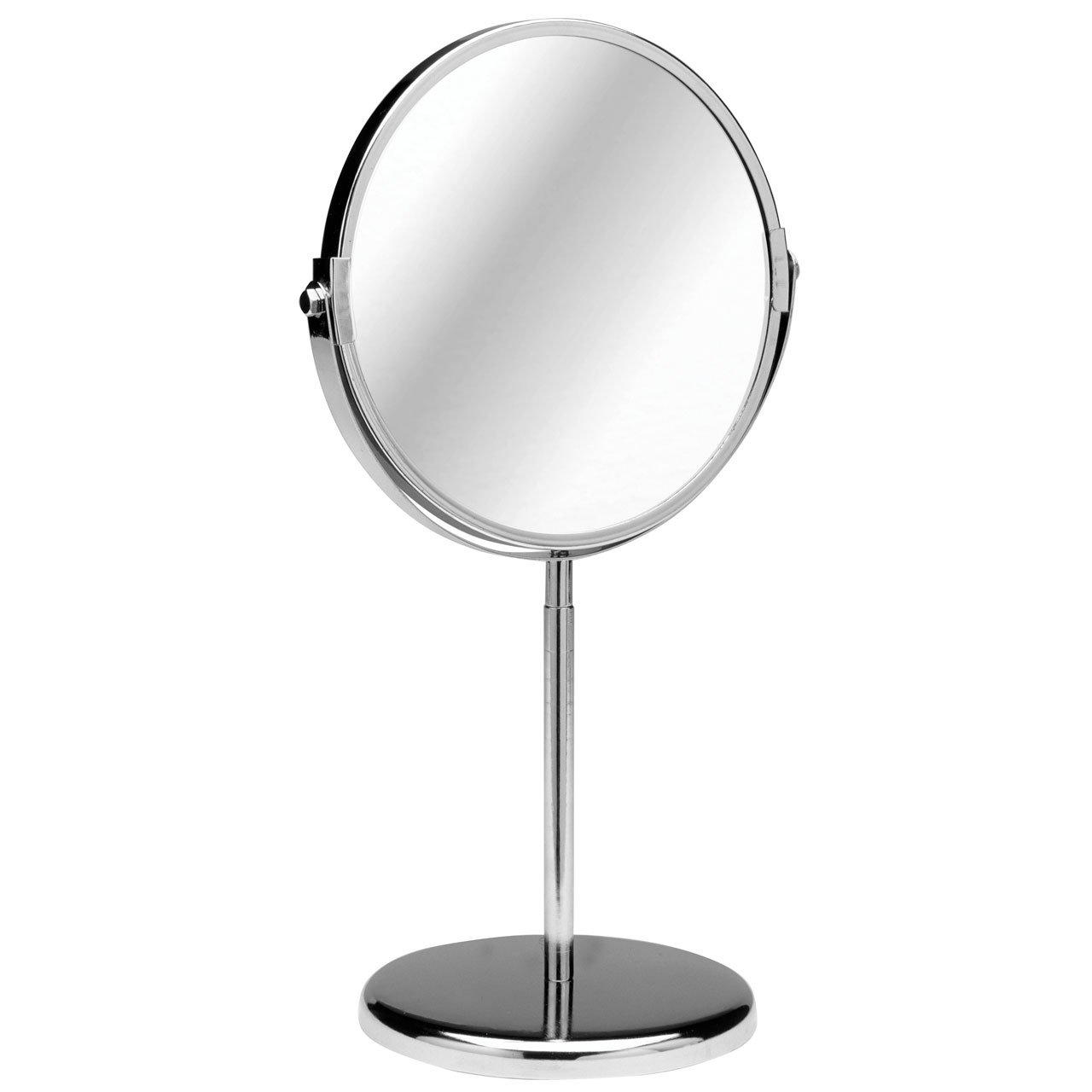 Chrome silver double sided magnifying stand alone shaving for Silver stand up mirror