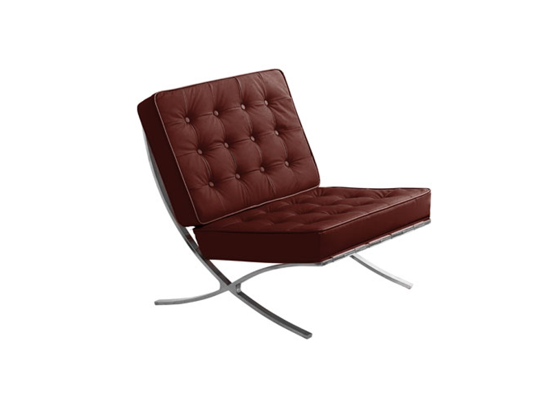 Rustic Dark Red Genuine Leather Lounge Chair Chrome Finish Frame