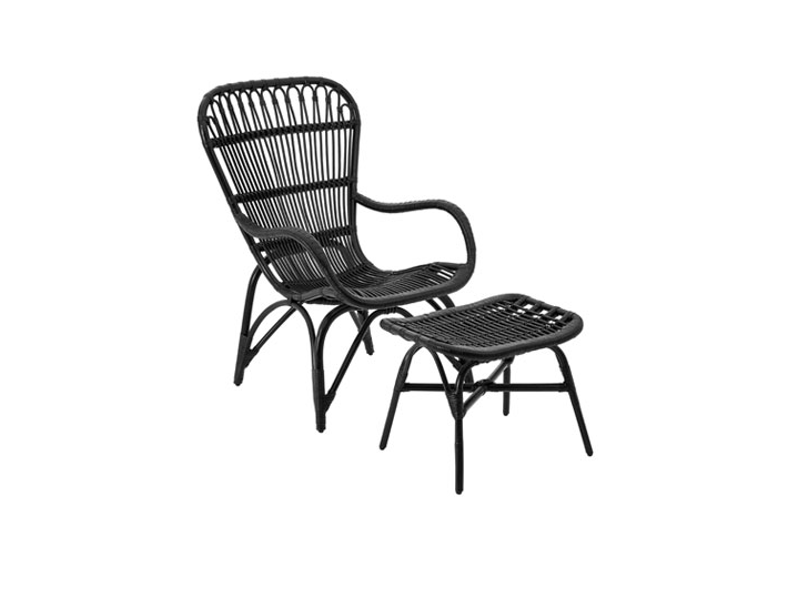 Rattan Low Armchair & Footstool Classy Black Garden Patio