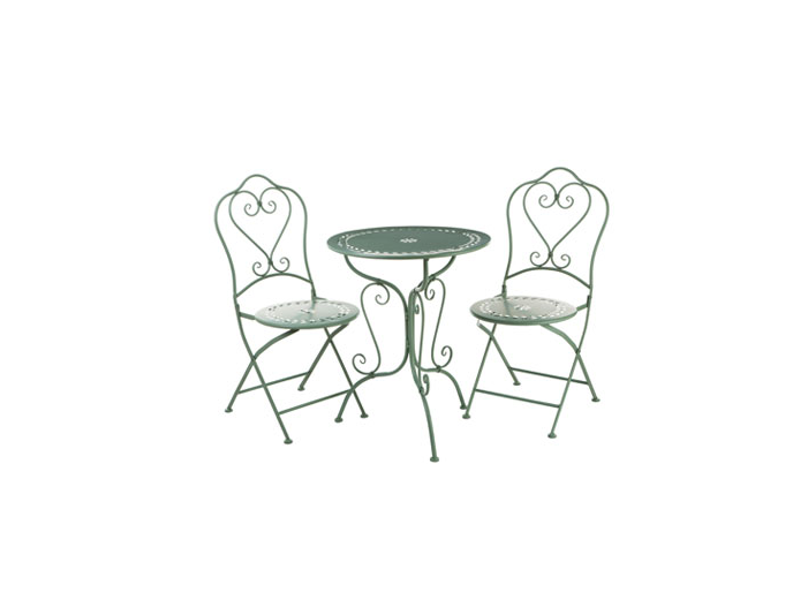 3PC Green Wrought Iron Table Set 1 Table 2 Folding Chairs