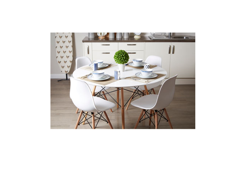 Round Wooden Kitchen Table Sets: 5PC White High Gloss Round Dining Set Table 4 Beech Wood