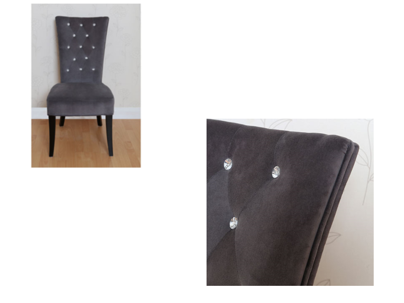 Grey Velvet High Back Dining Chairs: Radiance Charcoal Grey Velvet Dining Hallway Bedroom Chair