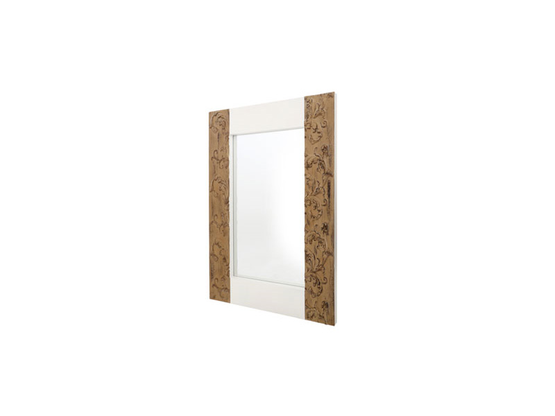Large white brown rectangle fir wood decorative wall for Large white decorative mirror