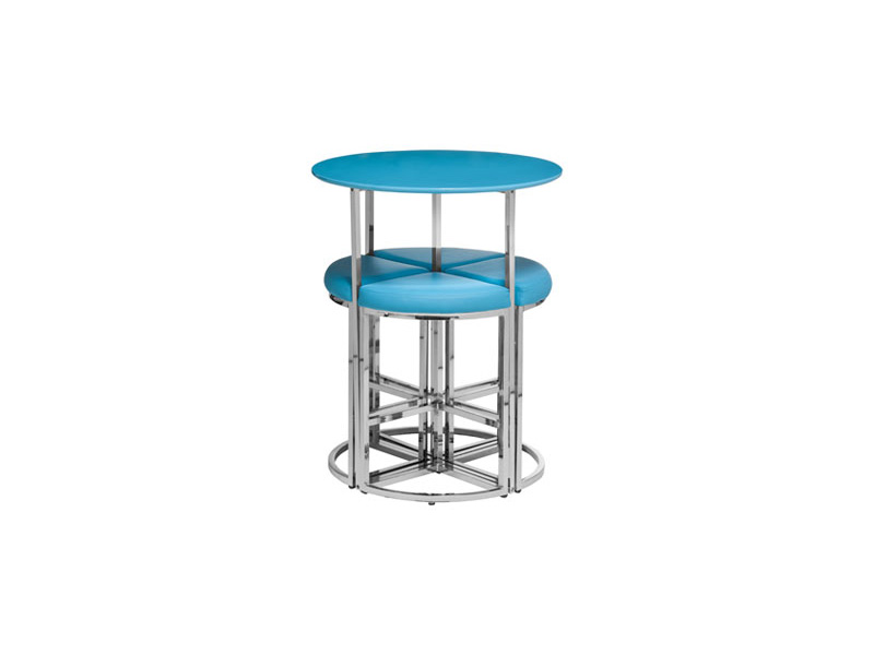 Spacesaver 5 piece tall round cocktail table stool set for Round cocktail table with stools