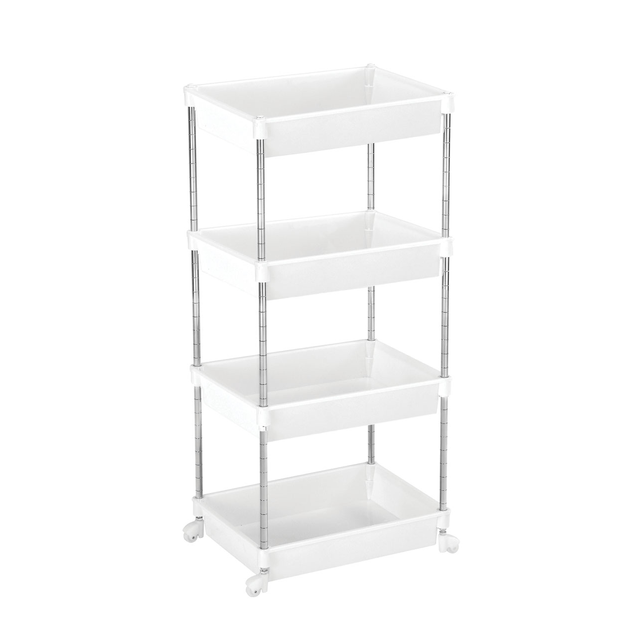 4 tier white plastic shelf unit cart chrome steel frame. Black Bedroom Furniture Sets. Home Design Ideas